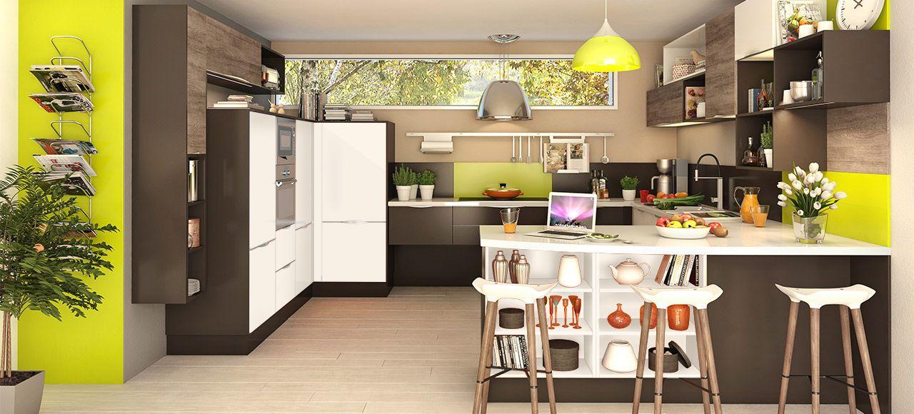 Cuisine équipée avec étagère pratique VITA par - cuisine verte et blanche