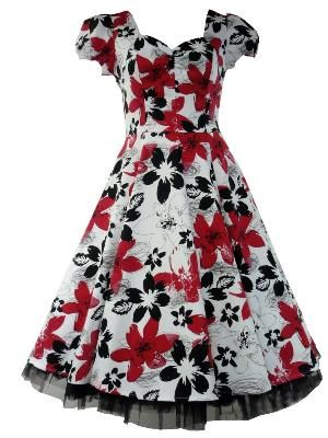 24d5f6911f07 50\'s Vintage Tea Prom Floral Dress White, Black & Red | My Style ...