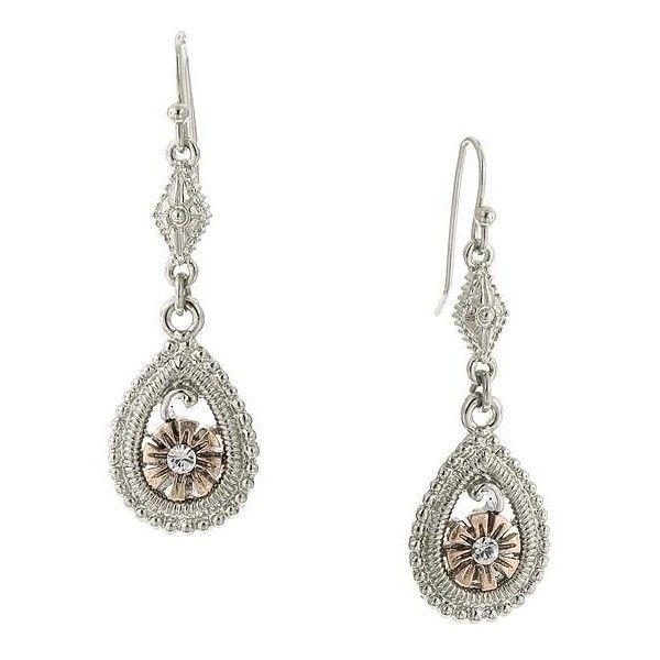 1928 Jewelry Rose Gold Daisy Crystal Silver Teardrop Dangle