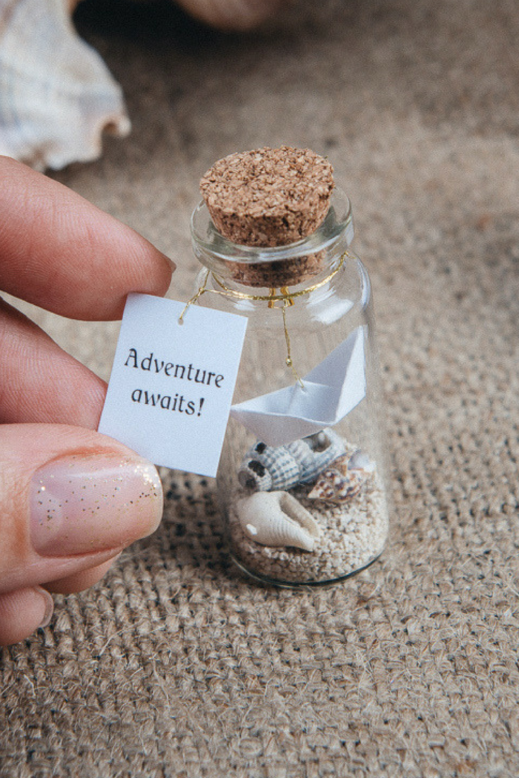 Personalized gift, Adventure Awaits, Ship in a bottle, Wanderlust, Funny Friendship Gift, Message In A Bottle, Traveler Origami gift #greatnames
