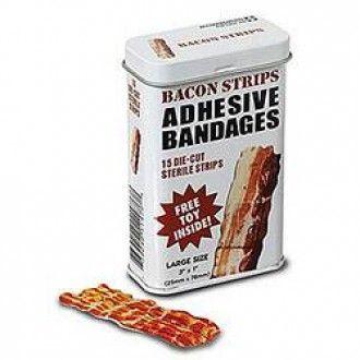 Bacon Strips Adhesive Bandages, 15Pk, W/Toy