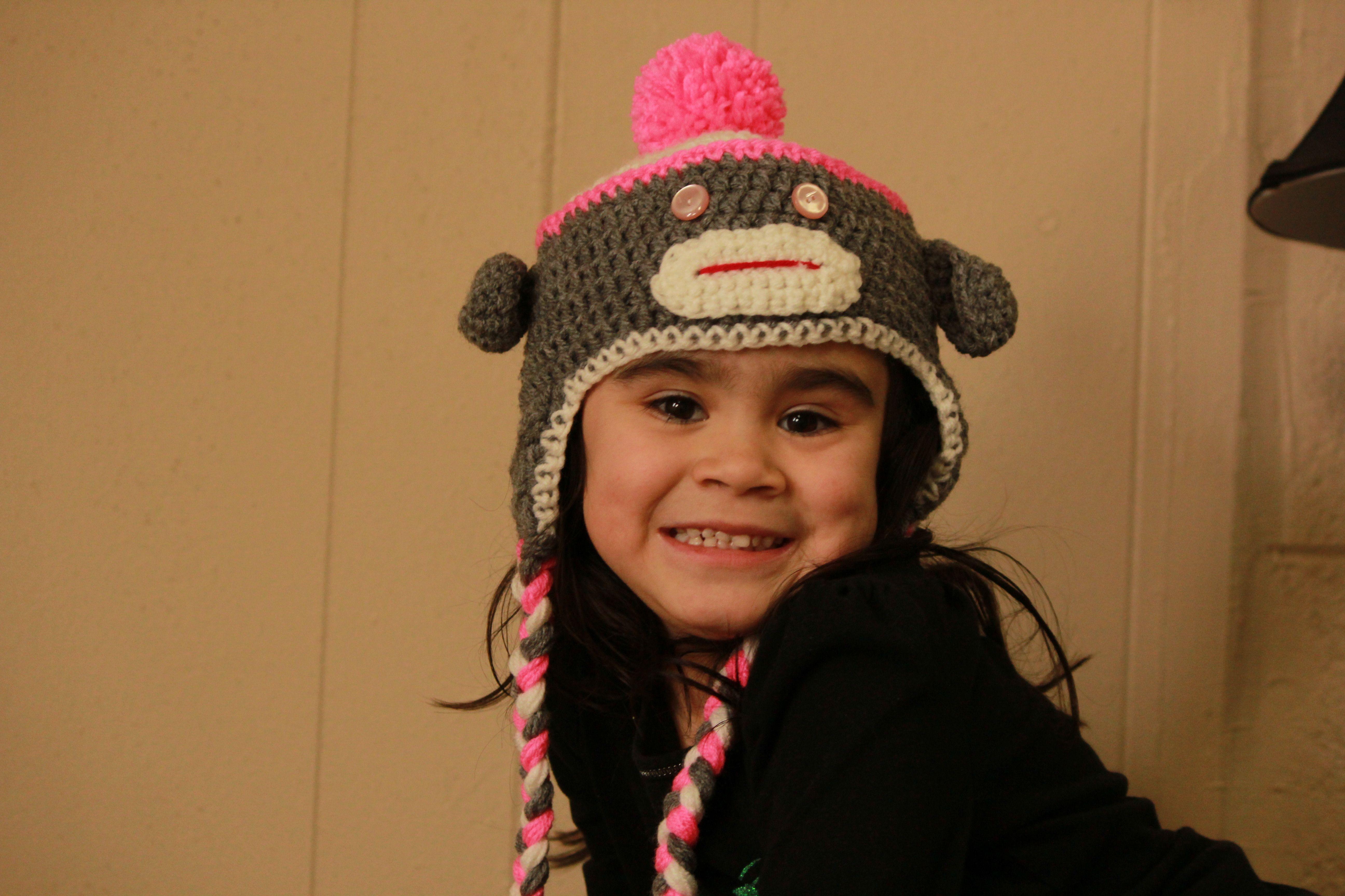 Gray, White & Pink sock monkey hat