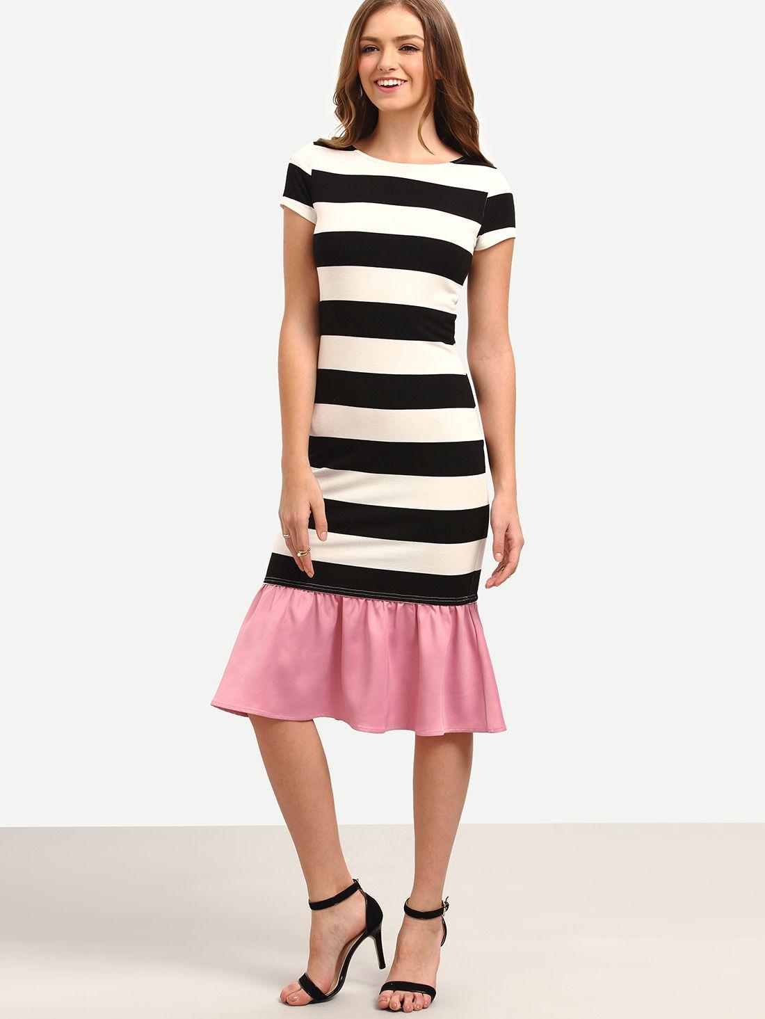 Black White Striped Patchwork Ruffle Midi Dress 20.99  a45ae29b7