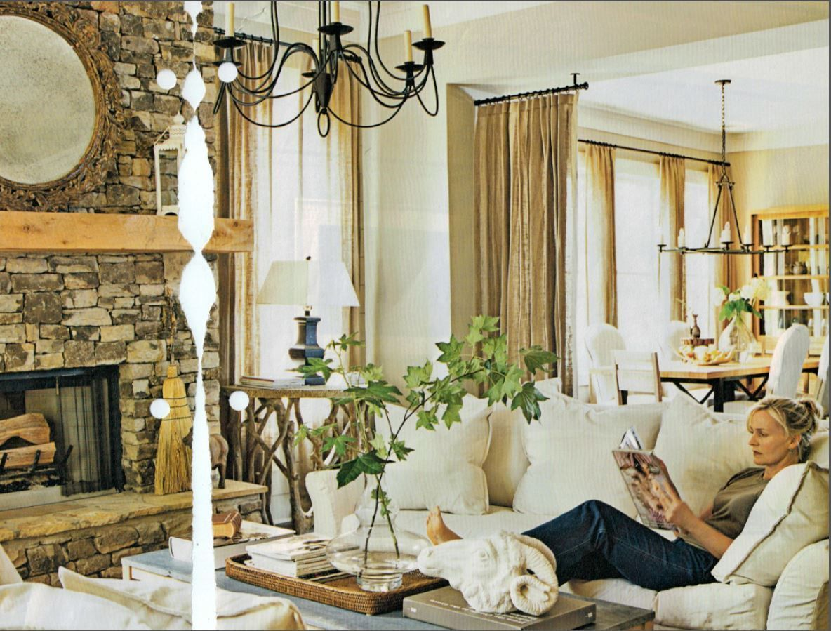 Airy rustic living dining curtain room divider idea