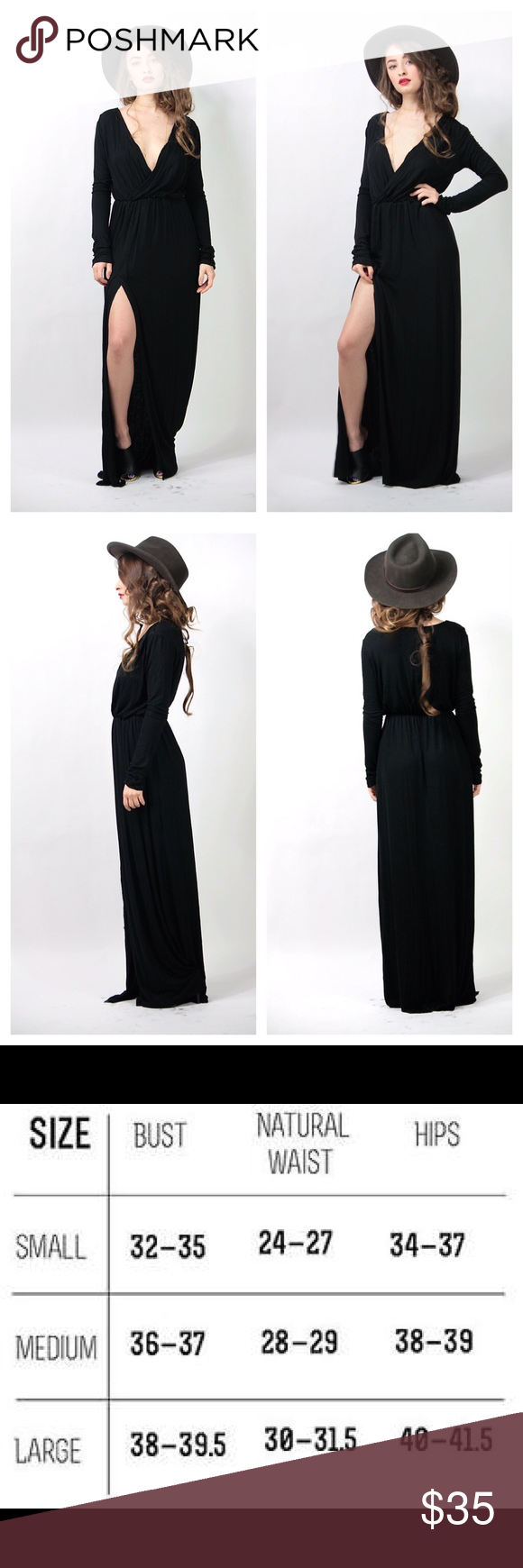Black maxi long sleeve dress flirty thigh slit Brand new dress - stretchy cotton dress with a draped front / snitched waist and thigh high slit - breathofyouth.com Brandy Melville Dresses Maxi