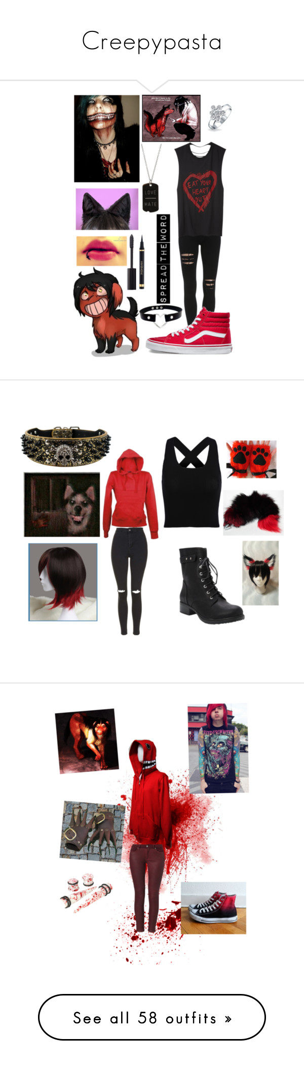 """""""Creepypasta"""" by tomboy-for-life ❤ liked on Polyvore featuring Forum, Vans, Bling Jewelry, ADORNIA, Chanel, Yves Saint Laurent, Topshop, Torrid, 7 For All Mankind and Converse"""
