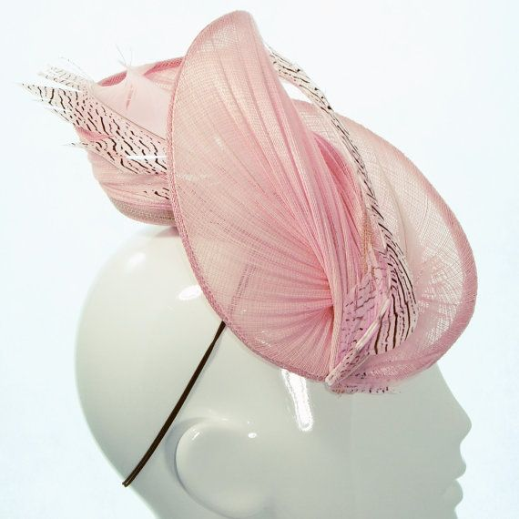 Pale Pink Meg Hat with Feather Spring by BonnieEvelynMilliner
