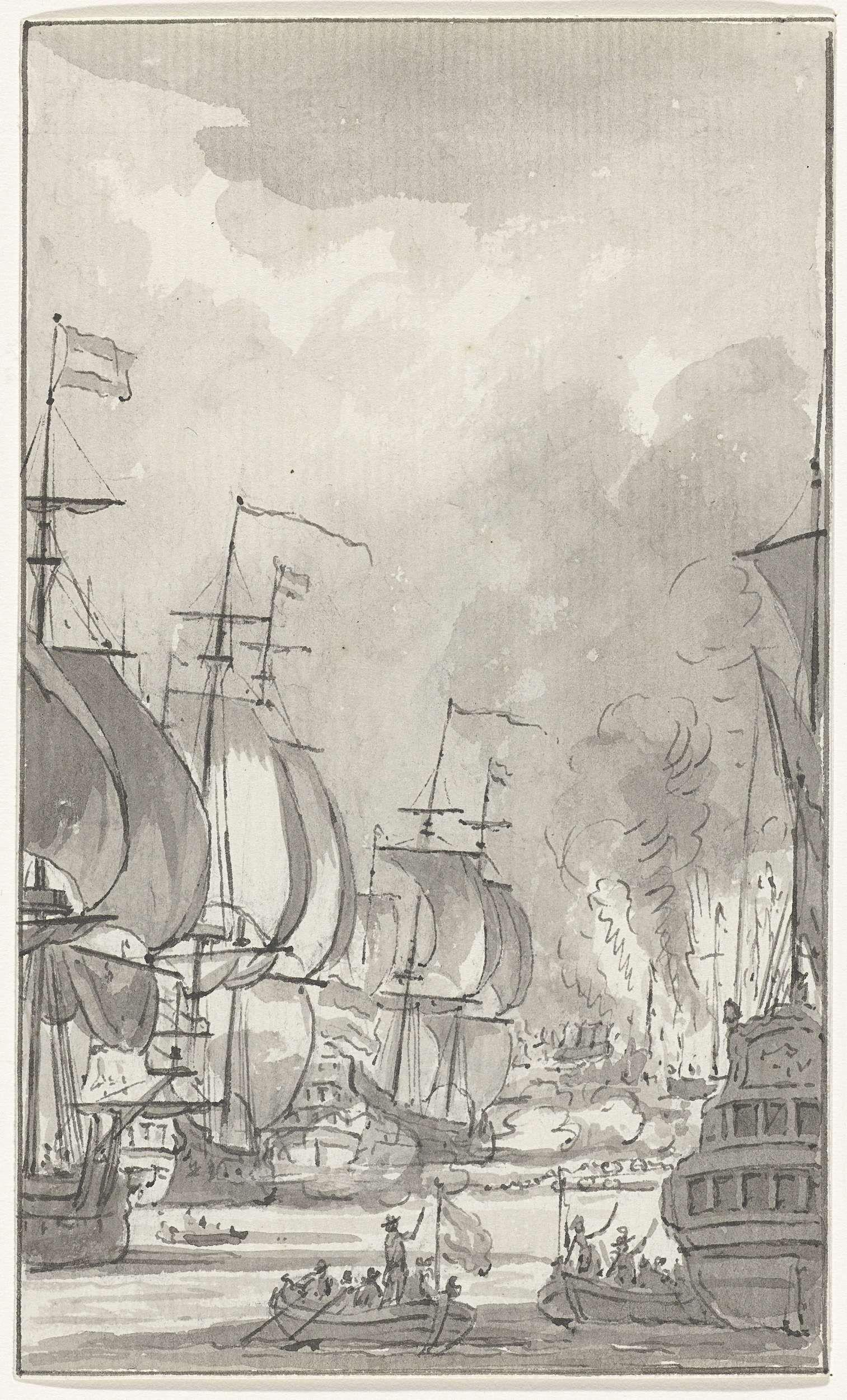 Jacobus Buys | Het overvaren van de ketting in de Medway, 1667, Jacobus Buys, 1788 | Het overvaren van de ketting in de Medway door kapitein Jan van Brakel met zijn schip de Vreede en de branders Suzanna en Pro Patria, 22 juni 1667. Episode uit de tocht naar Chatham en de vernietiging van de Engelse vloot op 20-23 juni 1667 door de Hollandse vloot onder De Ruyter.