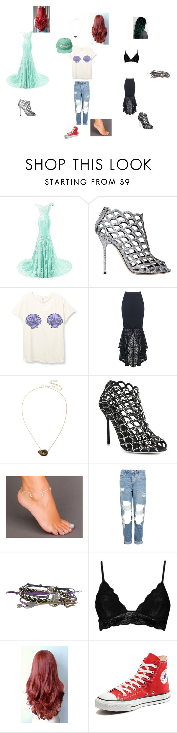 """Ariel"" by fangirl-24 on Polyvore featuring NAMI, Sergio Rossi, Disney, Topshop, Boohoo, Converse, Prom, rebel, disney and casualoutfit"