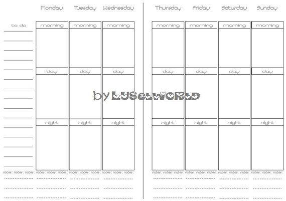 filofax printable a5 einlagen wochenplaner kalender von. Black Bedroom Furniture Sets. Home Design Ideas