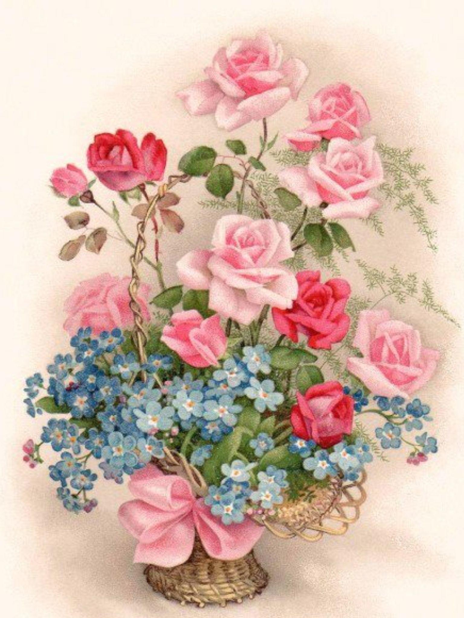 Открытки, винтажные цветы для открыток
