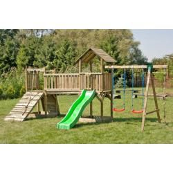 Photo of Play tower Play area with two towers including wave slide, double swing attachment and climbing rope Stei