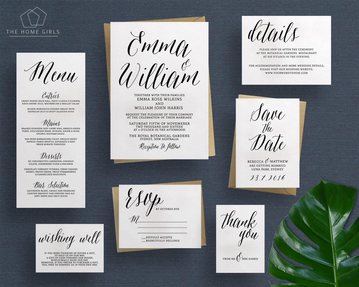 Wedding Invitation Suite Calligraphy   Save the Date   RSVP ...