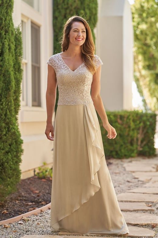 d5a5fcaa875 J215014 Grace Sequin Lace   Jade Tiffany Chiffon MOB Dress with V-Neckline