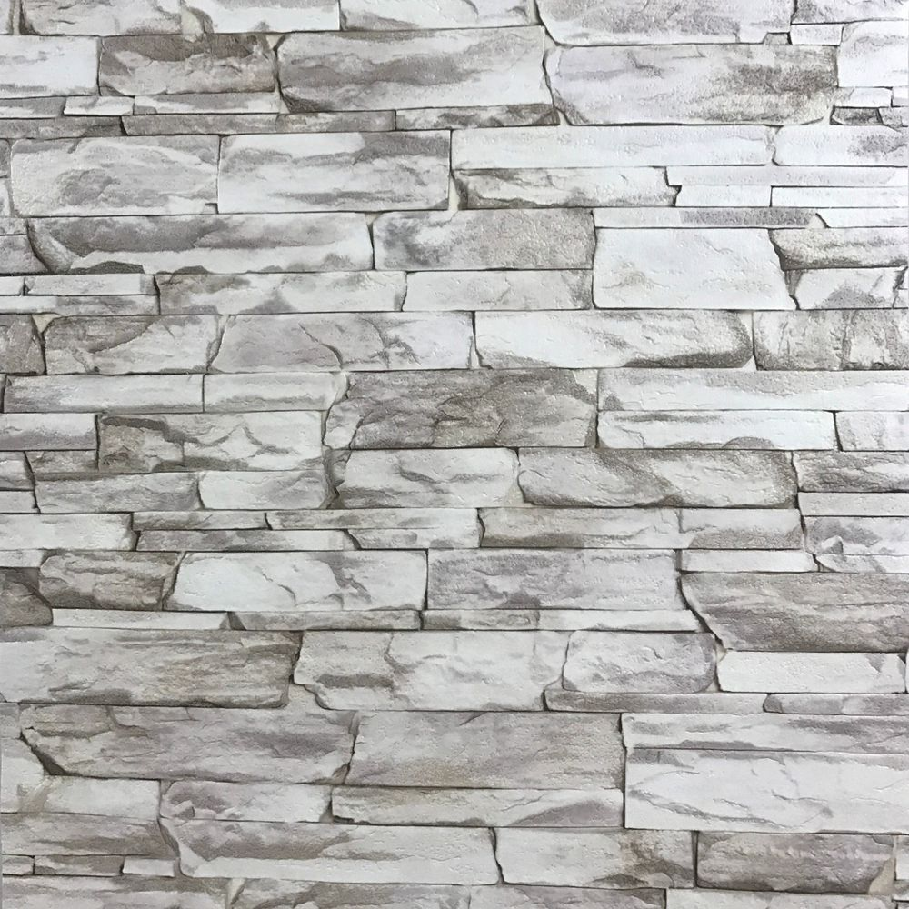 Wallpaper rolls textured grey modern faux realistic brick ...