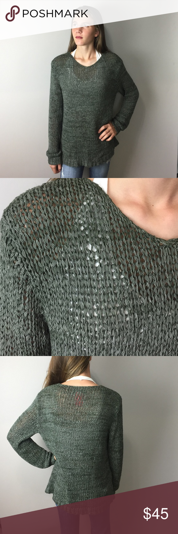 """Cue Green Knit Sweater M Great fishnet weave sweater from Australian designer Cue. There are no fabrication tags, but it's soft and stretchy. Feels like nylon/elastaine combo. Slight v neckline. Robbed at hems. 18"""" armpit to armpit, 23"""" shoulder to hem. Excellent condition. A955 Cue Sweaters Crew & Scoop Necks"""