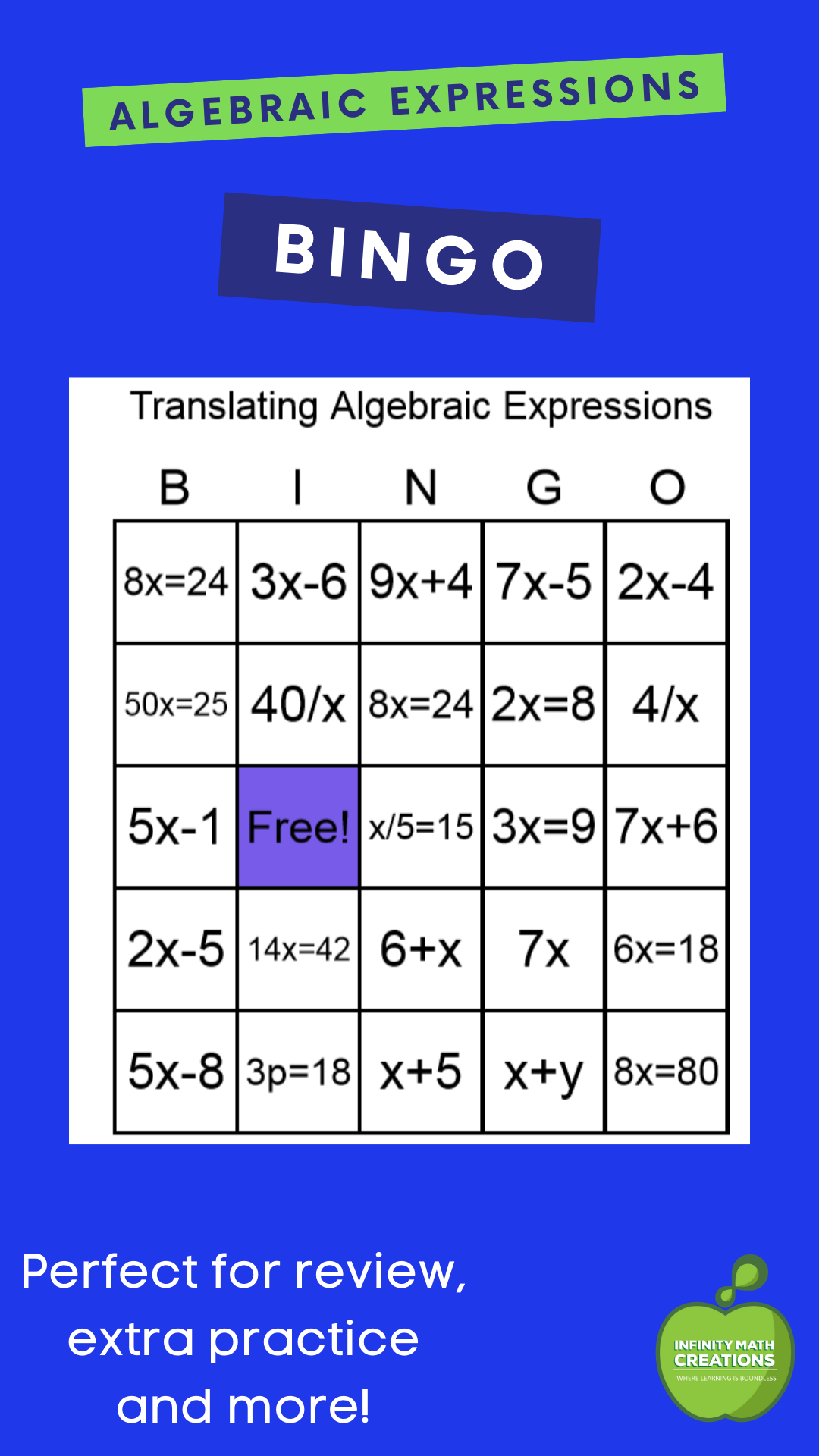 Algebra Translating Algebraic Expressions Bingo Game In