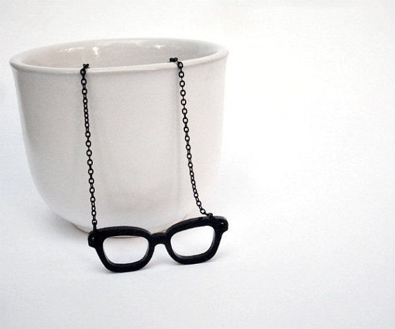 Black Glasses Necklace  Acrylic Laser Cut  by LeIdeeDellaVale, €14.00