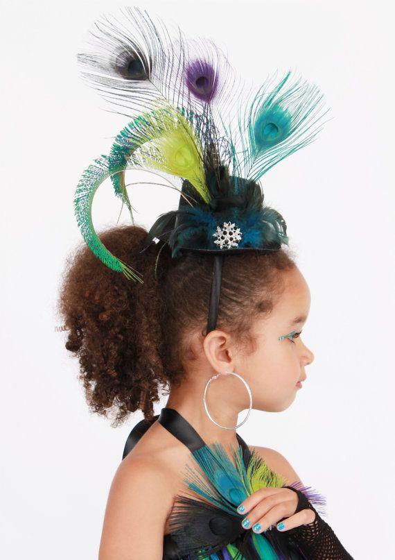 Punk Rock Peacock Mini Top Hat Headband by Cutiepatootiedesignz ... 9d1a6881033