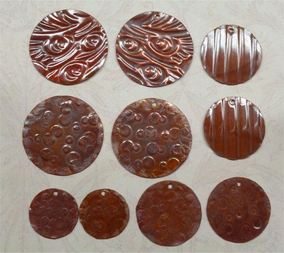 Handmade Embossed Copper Earring Components   10 by SunStones