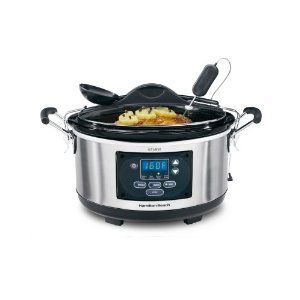 """I love this crock pot. It has two outstanding features that the others don't--The snap on lid and the """"keep warm"""" feature. In the past I have used crock pots that would cook with the setting of a manual dial. This new Hamilton Beech model cooks for as long as it is programmed and then it will keep the food warm until you are ready to eat. $45"""