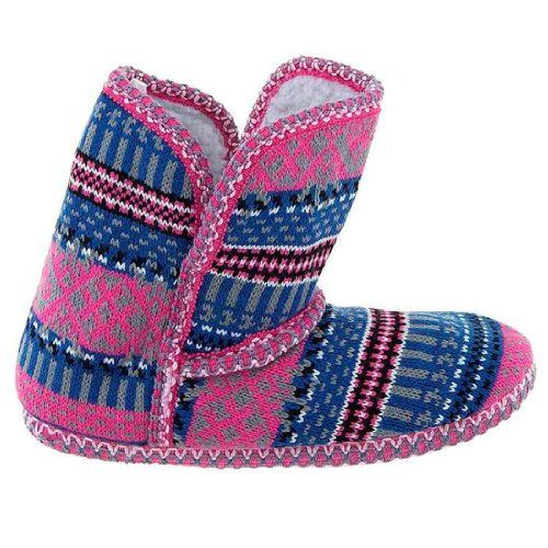Pink and Blue Fair-Isle Bootie Slippers for Women - Price: View ...