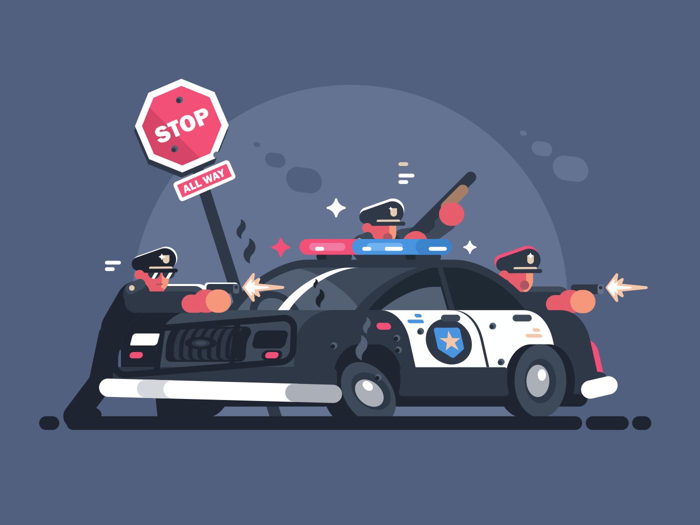 Police Patrol Fires From Behind Car Attack Of Criminals Vector Illustration Illustration Vector Man