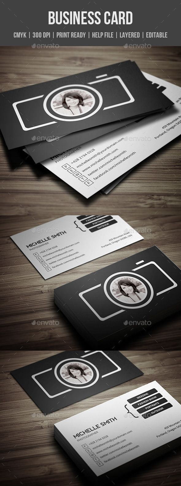 Photographer Business Card | Photographer business cards, Business ...