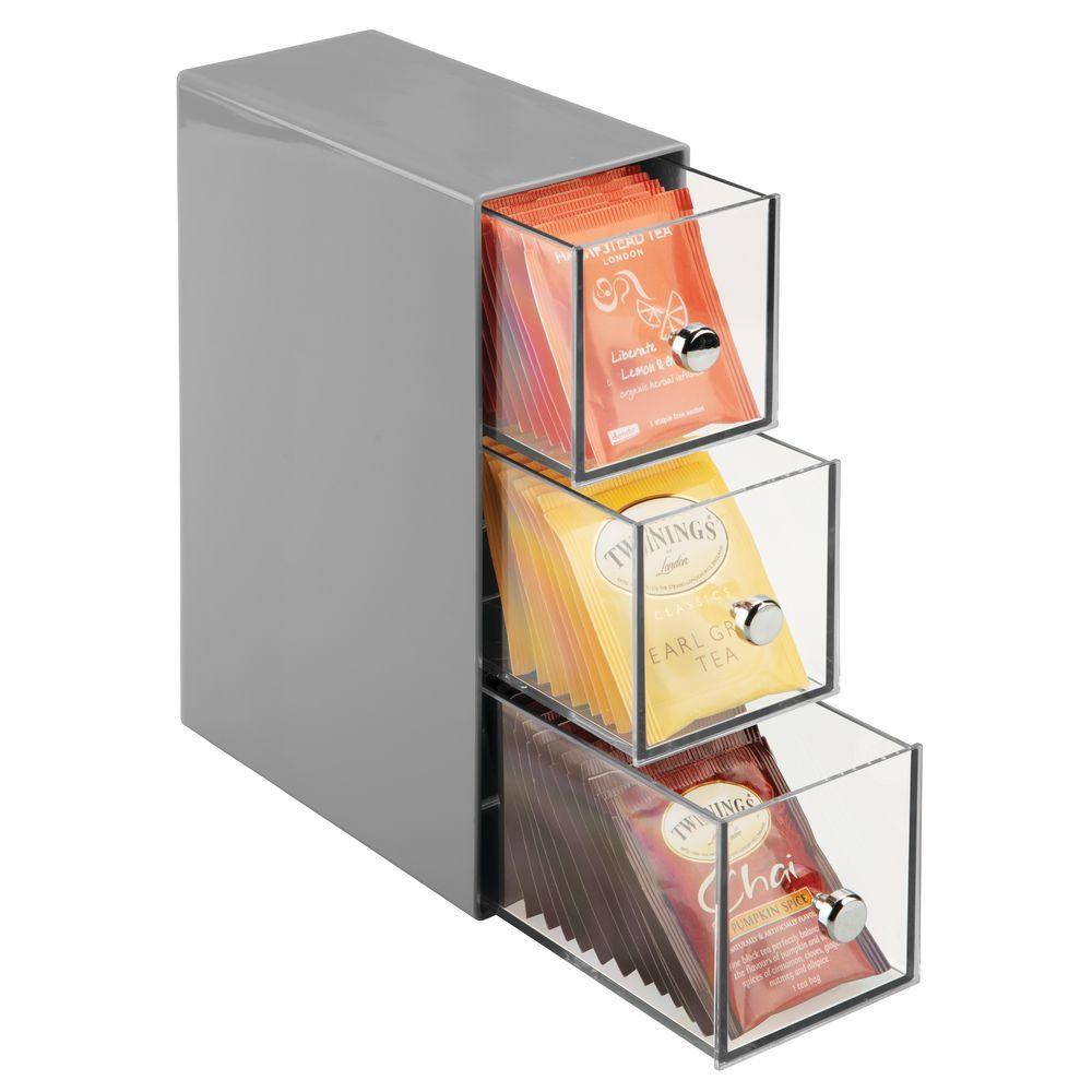 3 Drawer Plastic Vertical Kitchen Storage Organizer In Gray Clear