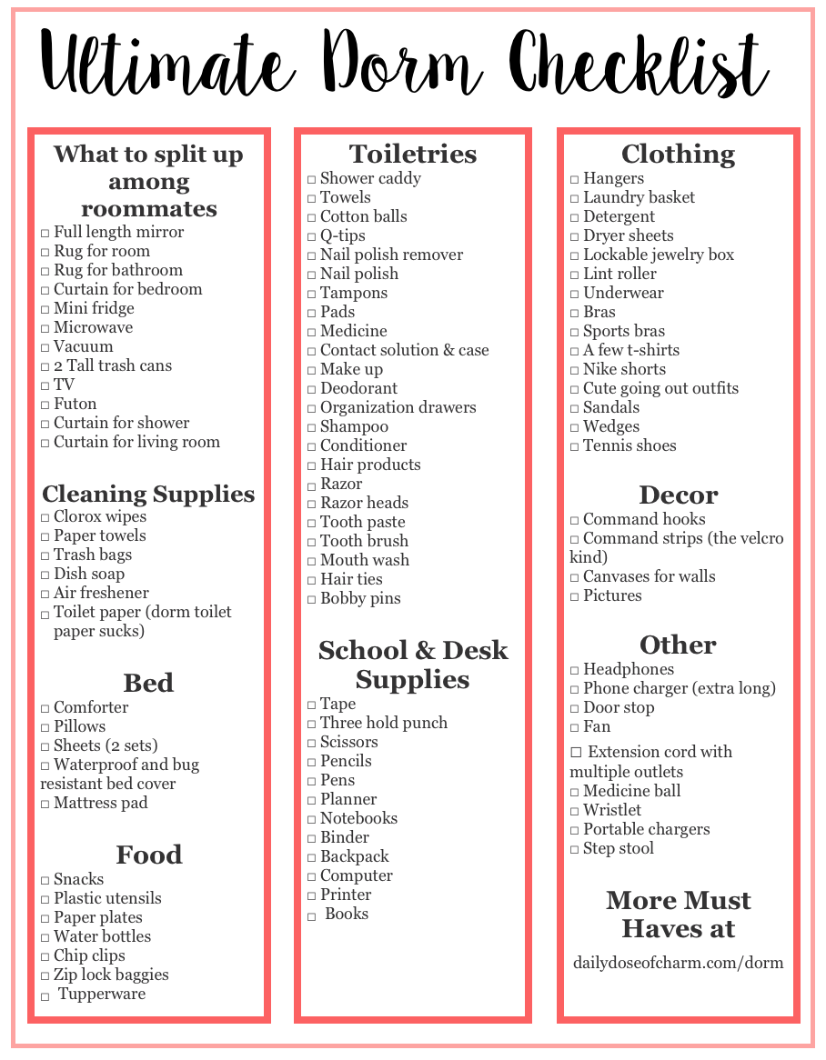 College Supply Checklist: ULTIMATE COLLEGE DORM CHECKLIST + WHAT YOU DO & DON'T NEED