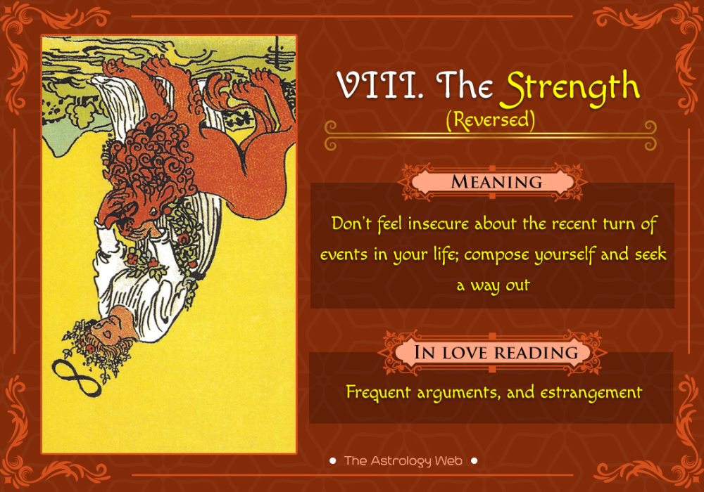 The Strength Tarot Meaning In Upright Reversed Love Other Readings The Astrology Web Strength Tarot Tarot Card Meanings The Lovers Tarot