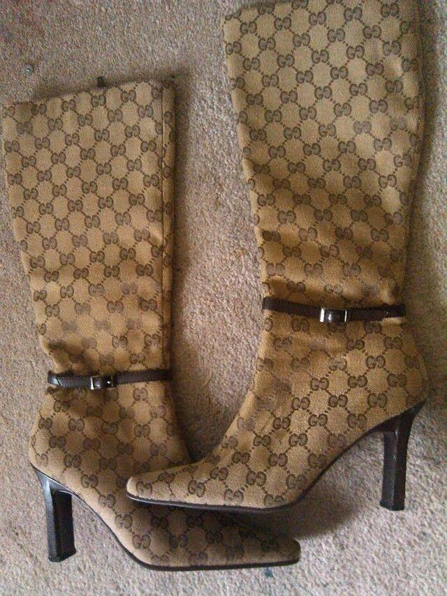 627f9a8606a Vintage Gucci Monogram Boots! size 7.5