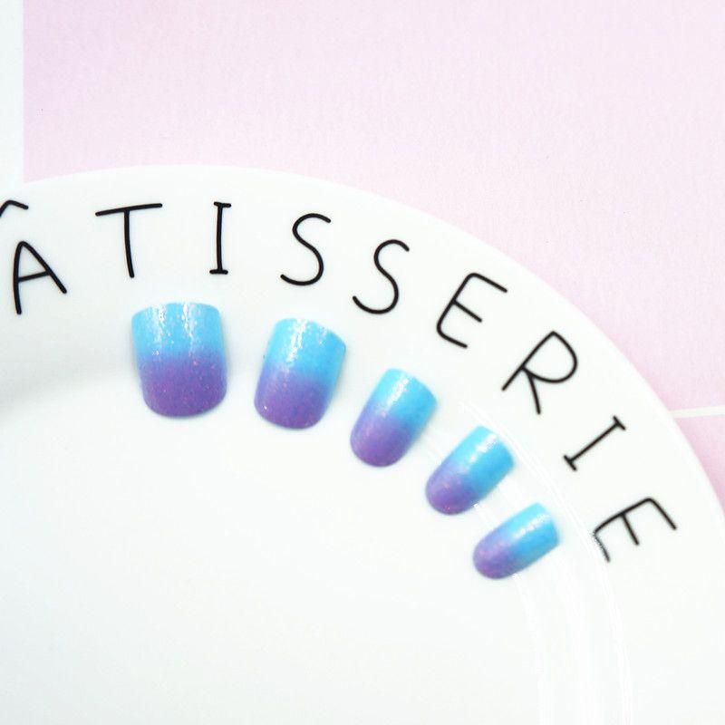 New Kids False with Design Nail Tips 24pcs Blue Purple Short Full ...