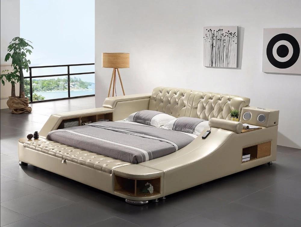 Genuine Leather Bed Frame Soft Beds Massager Storage Safe Speaker