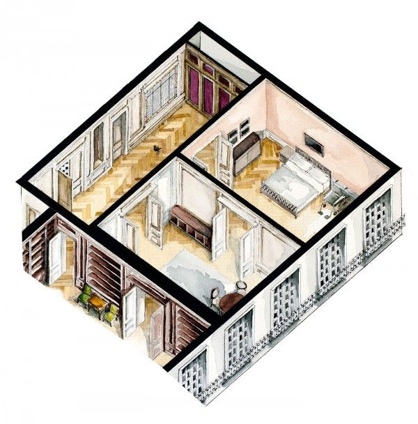 Watercolor Floorplans From Recent Television Shows And Films Art
