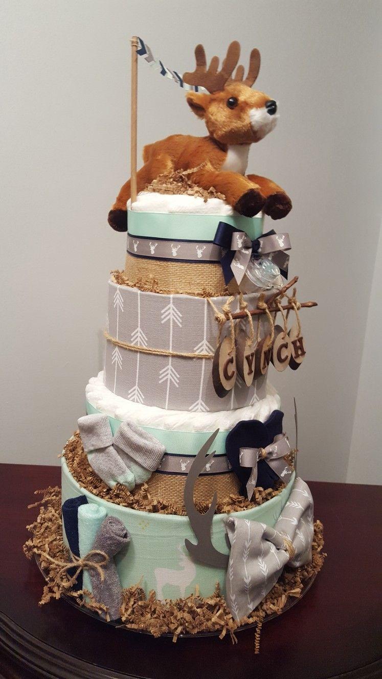 Woodland deer diaper cake baby shower centerpiece gift