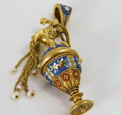 Rare 1870 Italian MICRO MOSAIC 18 KT Gold Urn Pendant Locket