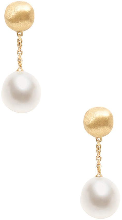 b2c4241a0ac Marco Bicego Africa 18K Yellow Gold Orb & Pearl Drop Earrings ...