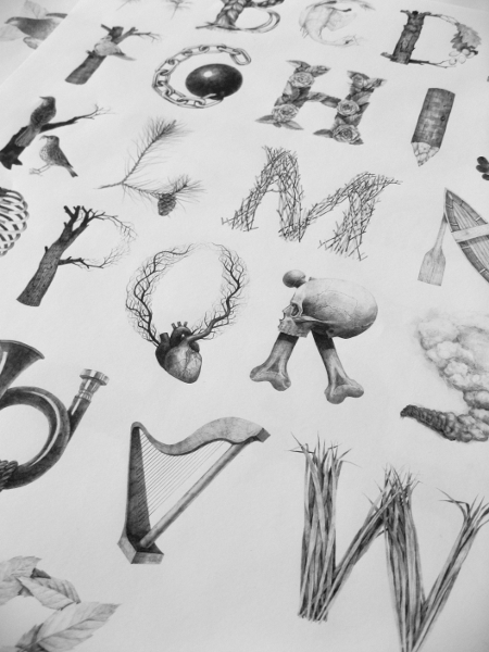 May by Jakub Konvica - Inspired by the famous Czech writer and poet Karel Hynek Mácha and his poem 'May'. I created an illustrated alphabet, in which every character illustrates words which appear in the poem. Afterwards, He cuts the alphabet to pieces and rearranged them into new characters, which now represent the concrete stories.