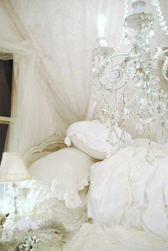 white, chandelier, heaven, shabby, ruffles