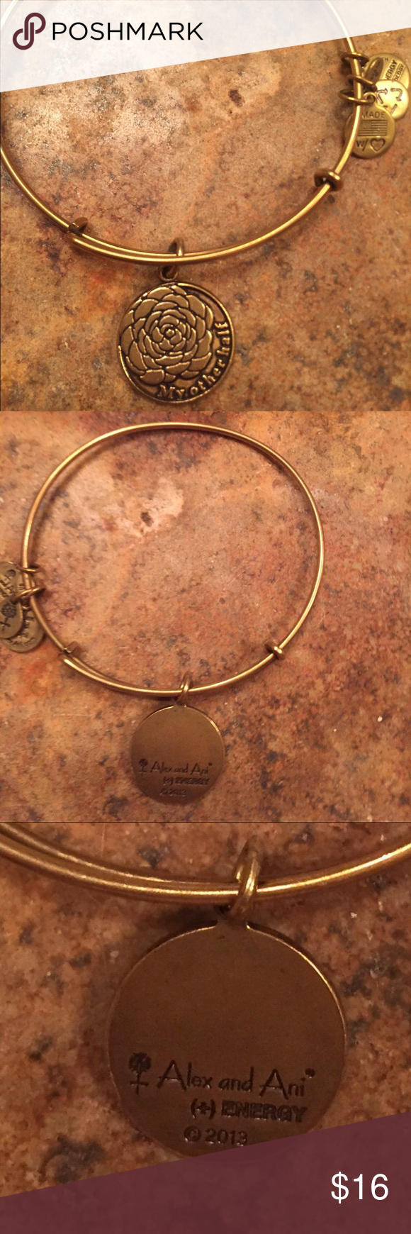 "Alex and Ani bracelet Gold adjustable ""My other half"" bracelet. In good pre owned condition. Alex & Ani Jewelry Bracelets"