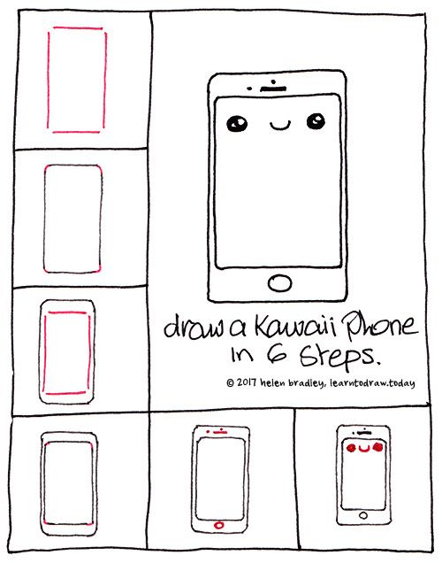 Learn To Draw A Kawaii Iphone In 6 Steps Cute Easy Drawings Kawaii Drawings Easy Drawings