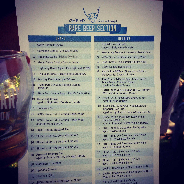 Rare Beer list... Stone 18th anniversary celebration