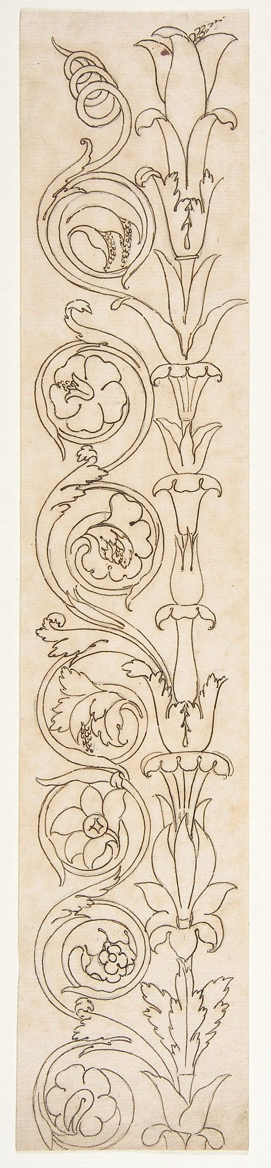 ornamental drawings  recto  blank  verso