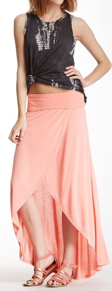 Coral wrap maxi skirt // love.
