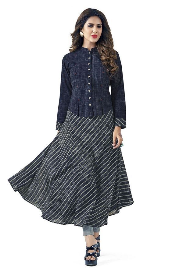 Aishwarya Blue & Grey Kurti With Denim Style Jacket @Looksgud.in #Aishwarya, #BlueAndGrey, #Kurti
