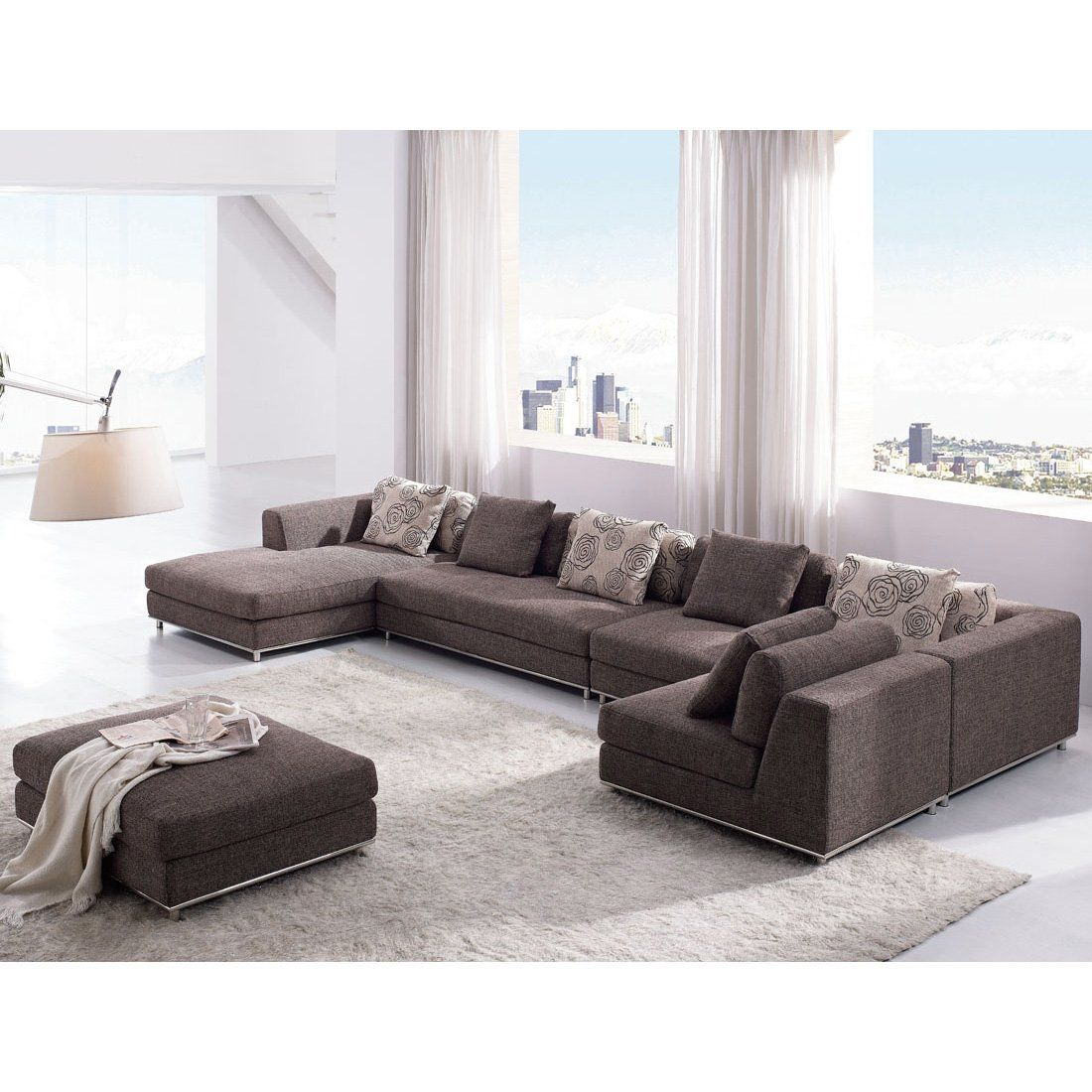 Bat Couch Possibility Tosh Furniture Contemporary Modern Brown Fabric Sectional Sofa 2720 00