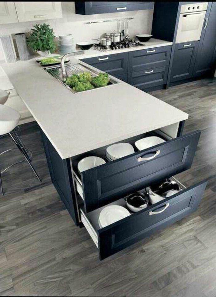 feng shui cuisine couleur blanc et gris avec sol en parquet gris ...