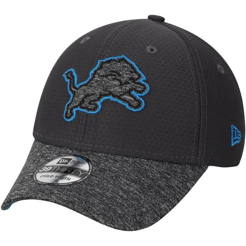 on sale c2e14 6922b Detroit Lions New Era Youth Popped Shadow 39THIRTY Flex Hat – Graphite