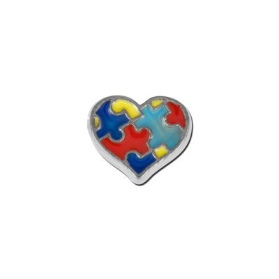 Enameled Heart with Puzzle Pieces Floating Charm
